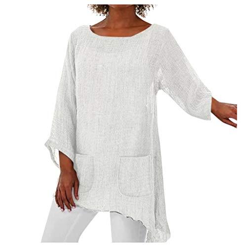 GOKOMO Frauen Rundhals Langarm unregelmäßiger Saum Dünnschliff Nachahmung Leinenhemd T-Shirt Frauen Plus Size Langarm Leinen Baggy Bluse Shirt Damen Sommer Tunika Tops(Weiß,X-Large) -