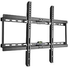 Ultra Delgado soporte de pared para TV Televisor 32-70 pulgadas de pantalla plana(LED LCD Plasma 4K 3D) Máx Vesa 600x400, Hasta 55kg, Negro, Soporte para LG Sony Philips Sumsung etc, con Nivel de Burbuja