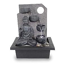 Kiom Fuente de Mesa Fuente de Interior FoBuddha Ancient Black Muy Grande con 38,5 cm LED 10871