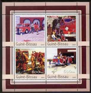 Guinea - Bissau 2003 Fire Engines perf sheetlet 4 values u/m Mi 2164-67 FIRE DALMATIONS JandRStamps