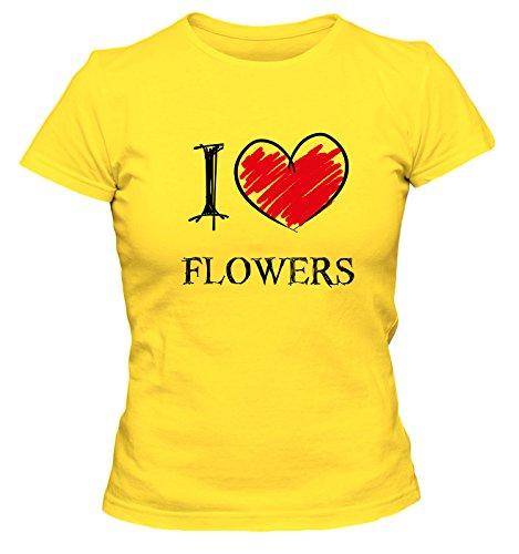 tees4low I Love Emos Fun Damen T-Shirt, Größe:XL;Farbe:Gelb
