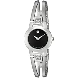 Movado AMOROSA 604982 24mm Silver Steel Bracelet & Case anti-reflective sapphire Women's Watch