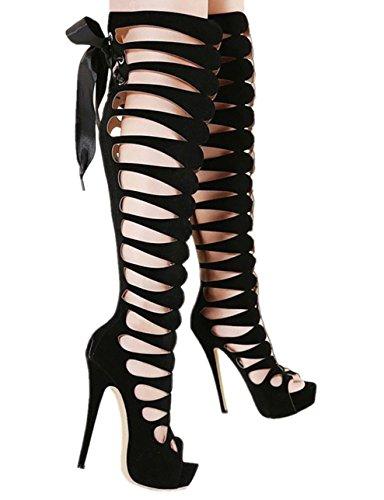 6Moon Damen Schuhe Sexy High Heels Stiefel Sandaletten Sommer Plateau-Stiefel mit Schnürung 368-28 ()