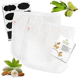 Amazy 2er Set Nussmilchbeutel inkl. 8 Kreideetiketten und Beileger mit Anwendungstipps - Vielseitiges Passiertuch für die Zubereitung von Nussmilch, Gemüsesäften und Smoothies (2 Stück | 30 x 30 cm)