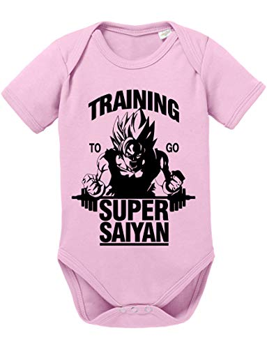 Goku SS Dragon Son Baby Ball Strampler Bio Baumwolle Body Jungen & Mädchen 0-12 Monate, Größe:62/2-3 Monate, Farbe:Rosa