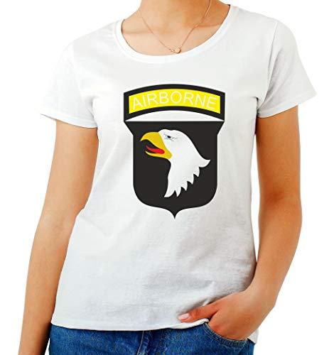 ef22f08b7ad6 T-Shirt para Las Mujeres Blanca TM0005 Airborne U S Army Brasile