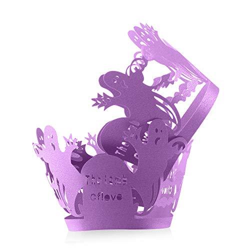 Kuchen-Verpackungen Gespenster, 12 PC Halloween-Spitze-Kuchen-Dekoration für Halloween Party Supplies (lila)