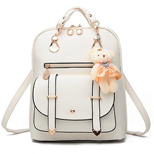 yaagle coreano PU Borsa a tracolla grande capacità semplice borsa da viaggio con decorazione a forma di orso per donna e ragazza, bianco (Bianco) - 532163249740-White