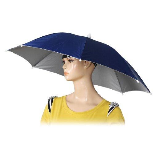 TOOGOO(R)26 pulgada diametro Sombrero paraguas de pesca banda elastica Azul oscuro