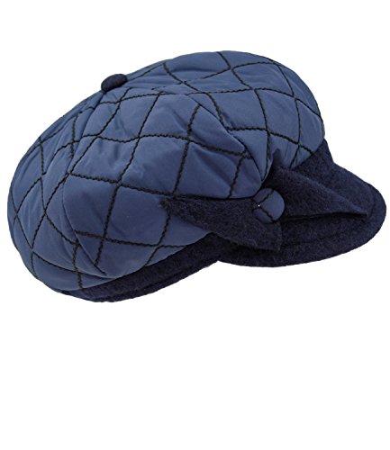 Fiebig Damenballonmütze Ballonmütze Ballonkappe Schirmmütze Wintermütze Winterkappe gesteppt mit Zierschleife für Frauen (FI-52887-W16-DA1-16-56) in Marine, Größe 56 inkl. EveryHead-Hutfibel (Gesteppte Kappe)