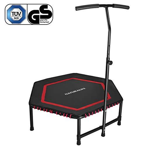 NATURALIFE Mini Fitness-Trampolin mit Griff, 106cm/Fitness Rebounder für Körpertraining und Cardio Workouts, Max bis 120kg -