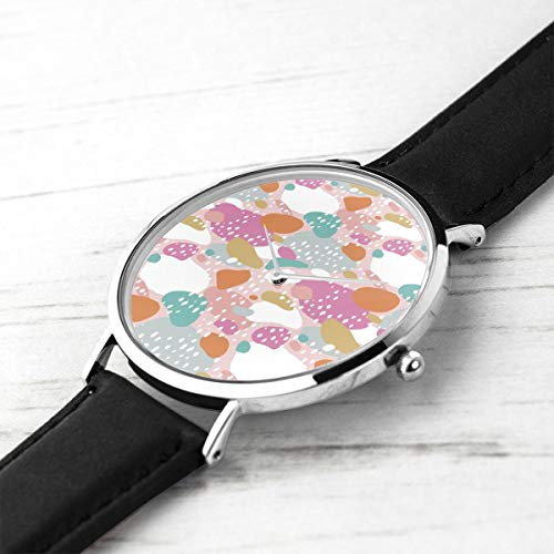 Unisex Ultra Thin Fashion Minimalist Wrist Watches Abstract Color Pops Paint and Strokes Colorful Spots for Girls Waterproof Quartz Casual Watch Mens Womens Womens