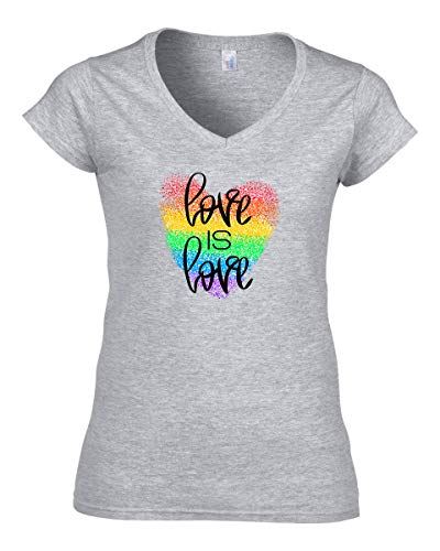 Damen Love is Love Rainbow Heart T-Shirt V-Neck Grau M -