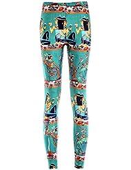YUJIAKU Pantalones de Yoga/Transpirables/Secado rápido/Ejercicio Abdominal con Leggings de Yoga Tide Star Estampado Digital Fondo Verde Leggings egipcios
