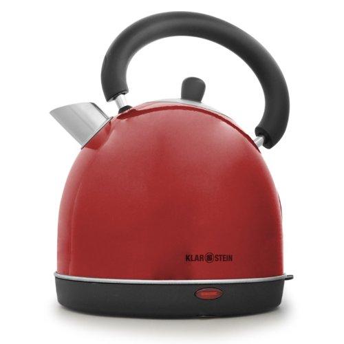 Klarstein 2200W Wasserkocher im Retro Teekessel Design rot (Edelstahl, Cool-Touch Griff, 1,8l)
