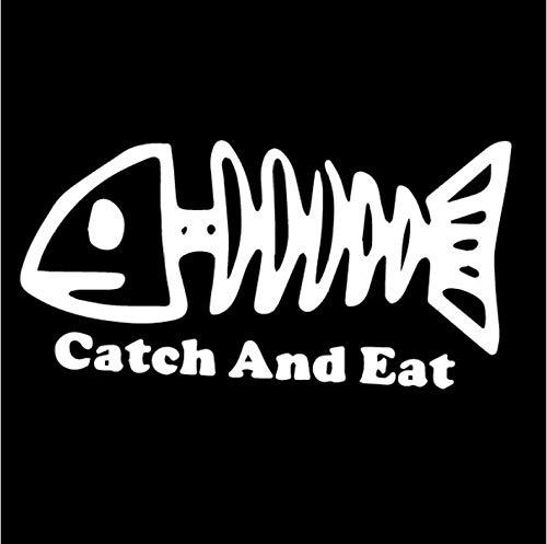 Kllomm 5 Stücke 16,7 cm * 8,4 cm Fangen Und Essen Knochen Fisch Aufkleber Vinyl Auto Aufkleber Autofenster Angeln-White_ -