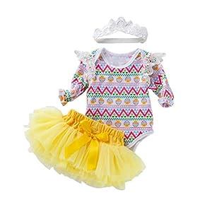 BRAVOLUNE Vestido De Onda Larga De Los Bebés con Hairband Pascua Juego De Ropa 3pcs 80m Hairband Juego De Ropa De Vestir Tutu 16