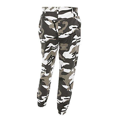 A vita alta Pantaloni per Donna - Camuffare Motivo Sciolto Casuale Pantaloni per Sport Yoga Pilates Jogging e Fitness Grigio