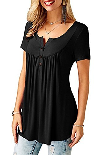 ASKSA Damen Sommer Kurzarm Oberteil Lose Bluse Shirt Sommershirt Tunika Tops (XX-Large, Schwarz)