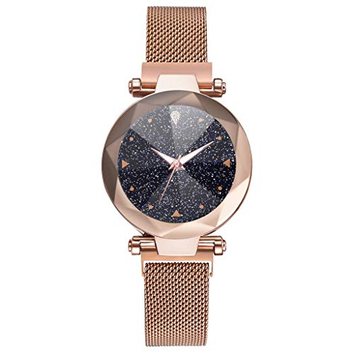 Damen Uhr,Zimuuy Mode Elegant Sternenhimmel Quarzuhr Exquisit Analog Armbanduhren Edler Schmuck (Rose Gold)