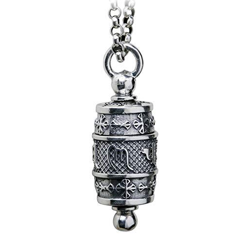 XJYA Männer und Frauen Vintage 925 Silber Amulett Gebetsmühle Anhänger Halskette,Turningcylinder - Tibetische Gebetsmühle