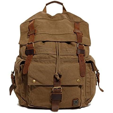 vootul Tela Zaino Zaino Unisex Vintage Zaino, College School Borse Daypacks Casual, escursionismo borsa a tracolla da viaggio per escursioni/campeggio, army green