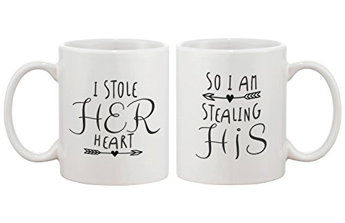 Stealing Hearts Romantic His and Hers Coffee Mugs - Perfect Wedding, Engagement, Anniversary, and Valentines Day Gift by love