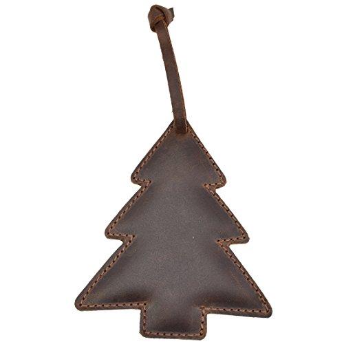 Hide & Drink Rustik Leder Baum Weihnachten Hängen Ornament Baum Dekorationen Handgefertigt von Bourbon Braun