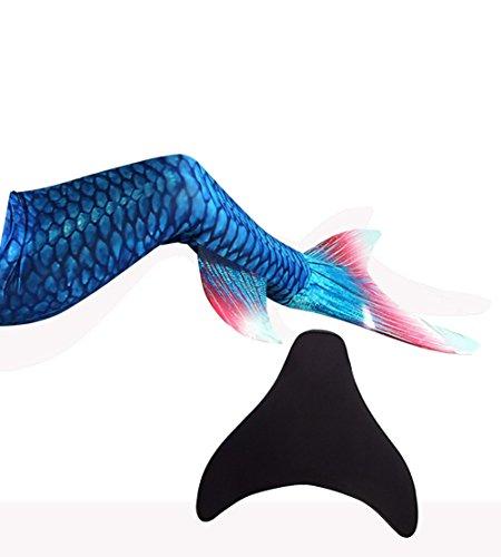 Likeep Meerjungfrauenschwanz Zum Schwimmen mit Meerjungfrau Flosse mit Kostenloser Classic Silicone Badekappe + Ohrenstöpsel + Nasenklammer (Dunkelblau, 10)
