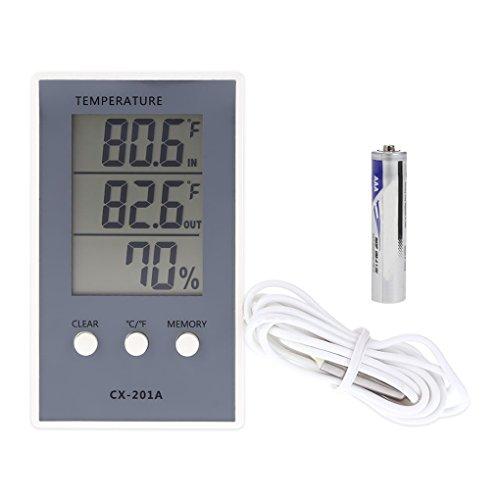 Ruiboury CX-201A-LCD-Digital-Thermometer-Hygrometer Innen/Außen-Fisch-Behälter-Temperatur-Feuchtigkeits Vermesser Wetterstation Tester -