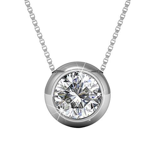 YOURDORA Collares Colgantes de Plata de Redonda Swarovski Cristal de 5mm Circonita Cadena 45cm Regalo Perfecto para Mujer ,Hipoalergenicos