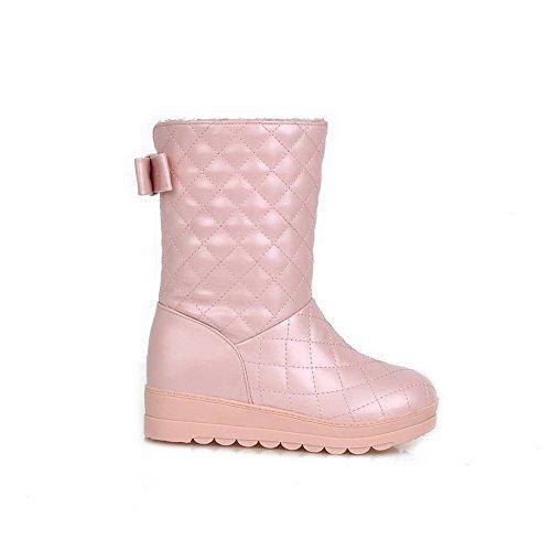AllhqFashion Damen Ziehen Auf Niedriger Absatz Pu Leder Kariert Mitte-Spitze Stiefel Pink