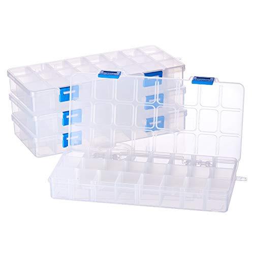 Benecreat -Pack de 4 Organizadores de joyas con separadores, contenedor para guardar cuentas de plástico transparente y ajustable.