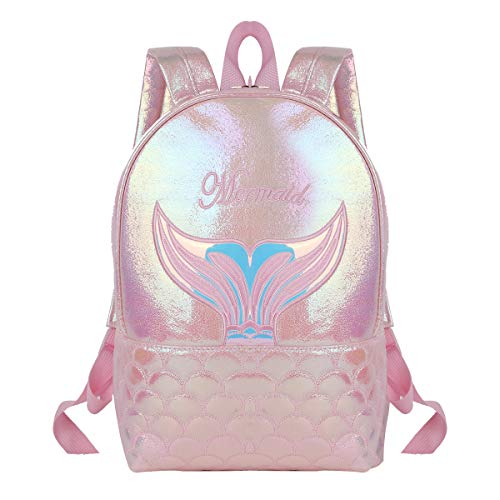 Agoky Mädchen Rucksack Mini Backpack Holographic Meerjungfrau Kindergartenrucksack mit Motiv Tasche Schulrucksack süße Umhängetasche Pink One Size