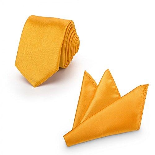 Rusty Bob - Krawatte mit Einstecktuch (in vielen Farben) - für die Verlobung, die Hochzeit - Schlips mit Taschentuch für das Sakko - 2er-Set - Gelb