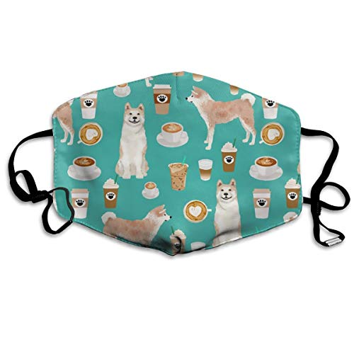 Akita Coffee Fabric Turquoise Mask Mouth Mask Neck Gaiter Mask Bandana Balaclava Easter St. Patrick's Day - Art Clay Copper Clay