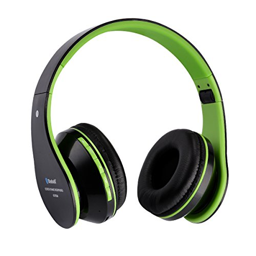Cuffie bluetooth senza fili Aita BT809 stereo headphone cuffie Thor Pieghevole Auricolari Wireless 4.1 Over-Testa con Microfono per Iphone,Android e computer(Nero-verde)