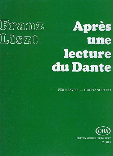 Après une Lecture du Dante, Fantasia Quasi Sonata Piano par Franz Liszt