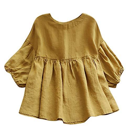 Bluse Damen Herbst Shirt Rundhals Leinen Halbe Laterne Ärmel T-Shirt Übergröße Einfarbig Elastische Tops Oberteil Sweatshirt Langarmshirt Lose Hemd Tunika(L-5XL)