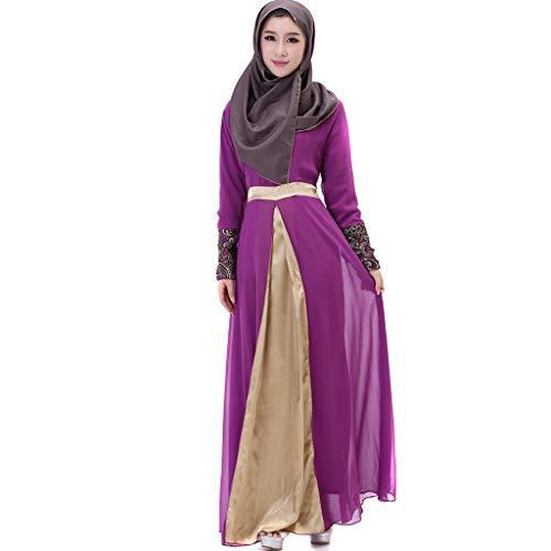 Scrolor Partykleider für Damen moslemische Kleidung Frauen langes Maxi Kleid Dubai Patchwork Islam Abaya (Lila,M) Chiffon Churidar
