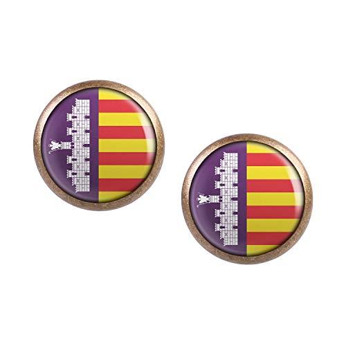 Mylery Ohrstecker Paar mit Motiv Insel-Wappen Flagge Mallorca bronze 12mm -
