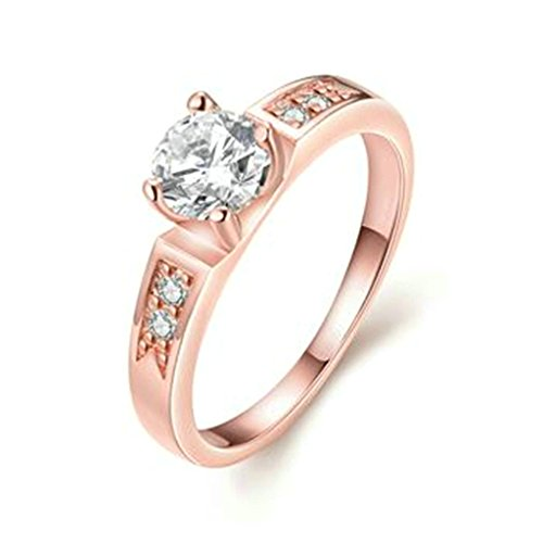 KnSam Paar Ring 18K Roségold Vergoldet Eheringe Hochzeitsring Weiß Zirkonia Solitärring Rose Gold Partnerringe Größe 52 (Preis nur für 1 PCS) (2ct Solitär-diamant-ring)