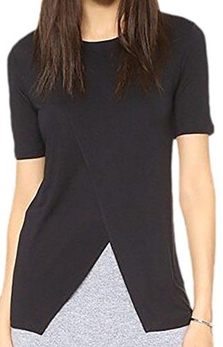erdbeerloft - Damen Casual Irregular T-Shirt , 34-46, Viele Farben Schwarz