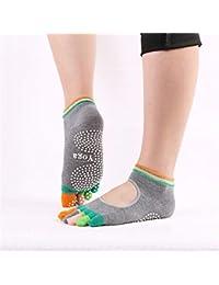 VIWIV Calcetines De Yoga, Medias De Color para Damas Calcetines De Algodón con Suelas Antideslizantes De Cinco Dedos, para Calcetines Deportivos De Pilates De Gimnasia Pilates (2 Pares),Gris