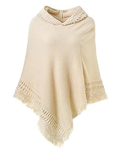 Poncho Cape Überwurf V-Ausschnitt Batwing Crochet Hoodie Strickjacken Beige One Size (Kapuzen Cape)
