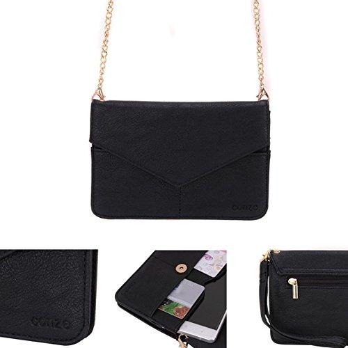 Conze da donna portafoglio tutto borsa con spallacci per Smart Phone per Celkon Millennia Everest/Xplore/Hero Grigio Grey Black
