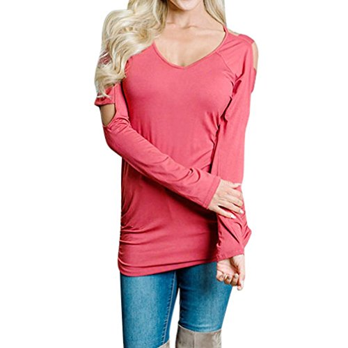 ADESHOP Femmes Col Rond Épaule Nu Manches Longues Femmes Évider Out Sweat T-Shirt Blouse Femmes Taille Plus Mode Décontracté Lâche Blouse Pull Femmes Printemps et Automne Rouge