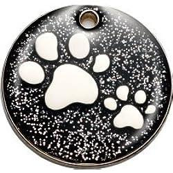 Personnalisé Médaille pour Animal domestique en forme de Patte à Paillettes Noir (Moyen) | SERVICE DE GRAVURE | Médaille pour Chat et Chien Personnalisée Réfléchissante à Paillettes