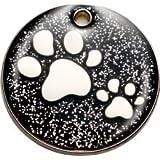 Pet-Tags BowWowMeow Hundemarke mit Gravur | Glitzernder Anhänger | Schwarze Haustiermarke glitzernde Pfote (mittel) | Namensschilder für Hunde und Katzen mit Personalisierung | LEICHT UND LANGLEBIG