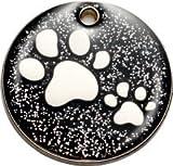 Pet-Tags Bow Wow Meow mit Personalisierung Schwarze Haustiermarke Glitzernde Pfote (Mittel) | GRAVURSERVICE | Personalisierte, Reflektierende, Glitzernde Haustiermarken für Hunde und Katzen